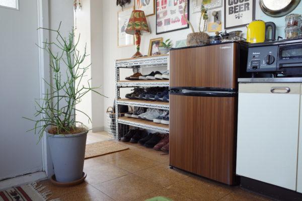 グリーンインテリアになじむ木目の冷蔵庫